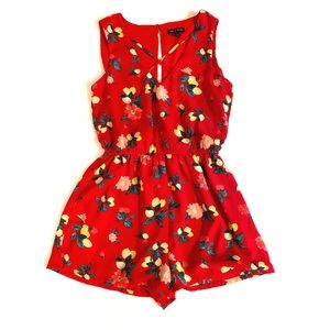 As U Wish Citrus & Floral Red Romper Xsmall
